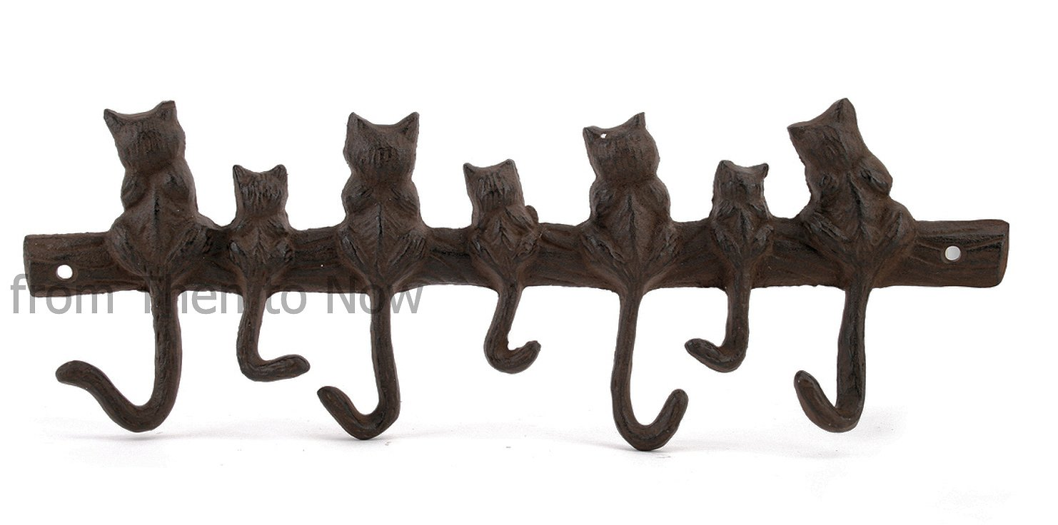 CAST IRON CAT HOOKS - 7 CATS IN A ROW (CGB100) Carousel Home WE495