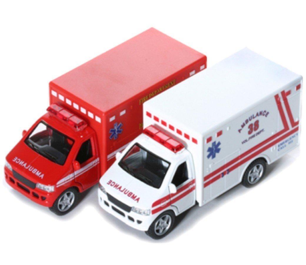 "Kinsmart Kinsfun Display Rescue Team 5"" Ambulance & Fire Department Truck 2Pc Set Toy, Multicolor"
