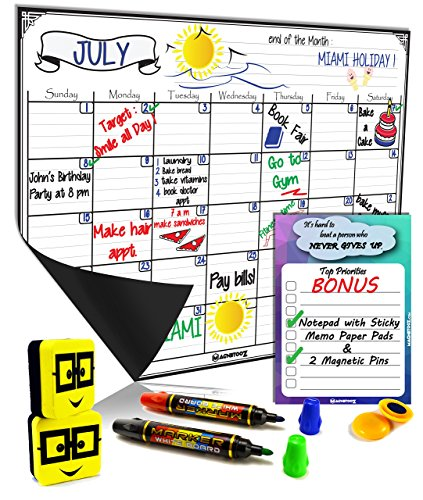 Magnetic Dry Erase Calendar  Monthly Fridge Whiteboard Sheet  Erasable Yearly Planner 16quotX12quot White Board 2 Erasers 2 Dual Markers 4 Colors BONUS NotePad 6quotx4quot 2 Pins Ideal Daily Bill Organizer