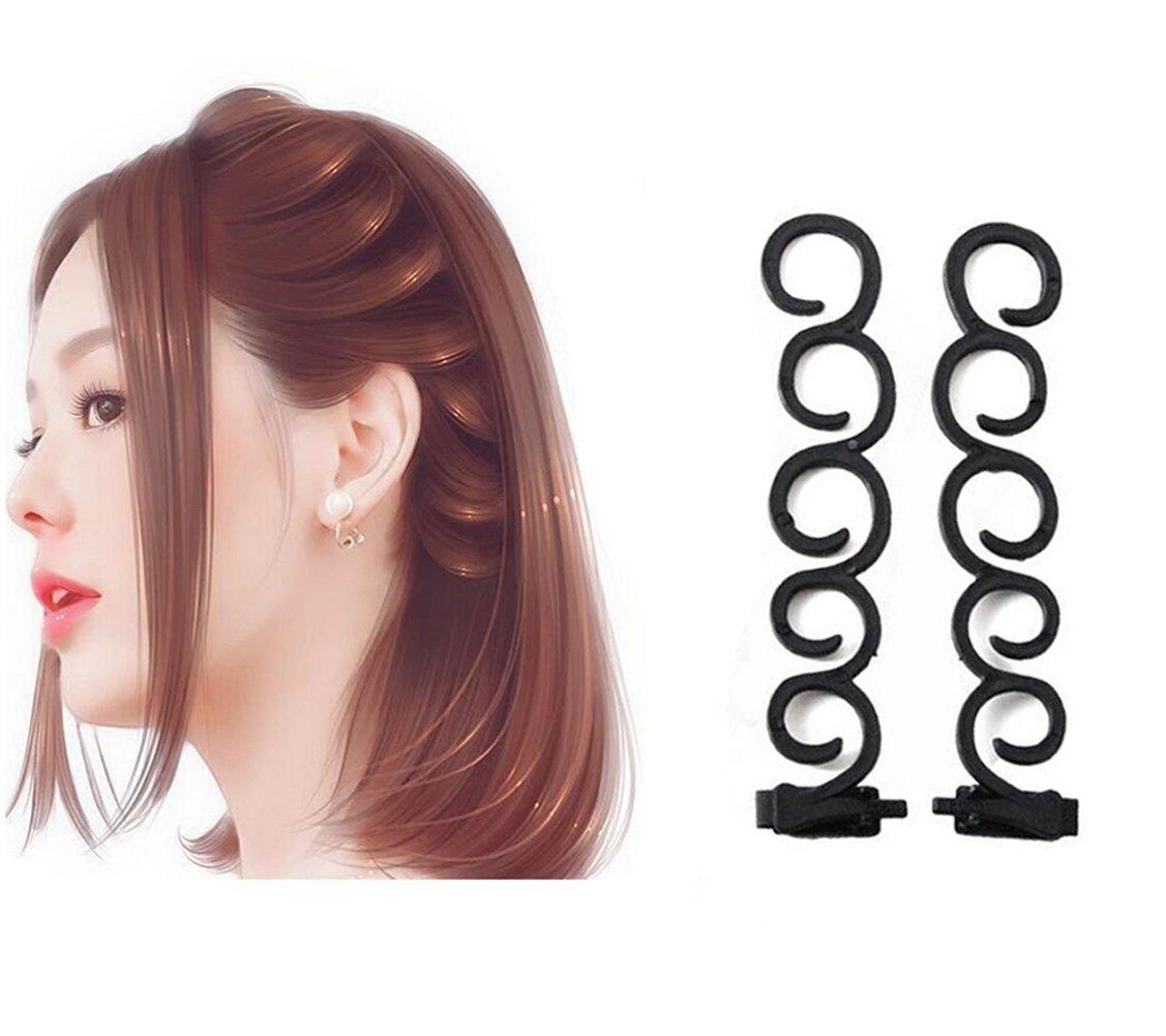 2pcs Noir Long 13,5cm Plastique Français Cheveux tresses machine Outil de tressage Cheveux Twist Styling Clip tresses Rouleau Chignon Maker DIY Cheveux Band Accessoires Upstore