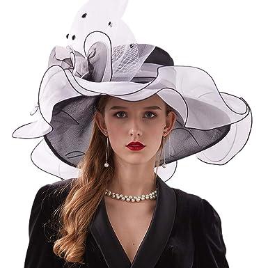 9460727480860 LLYGE Women Foldable Organza Church Derby Hat Ruffles Wide Brim Summer  Elegant Bridal Cap (Balck