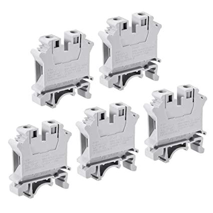 uxcell UK10N DIN Rail Terminal Block Screw Clamp Connector, 800V 76A Gray  for 20-4 AWG, 5 Pcs