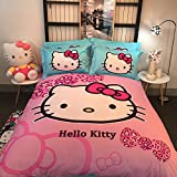 Hello Kitty Cartoon Bedding Sets - Pure Cotton Home Textiles Children Gift on Birthday Christmas Duvet Cover and Fitted Sheet Twin