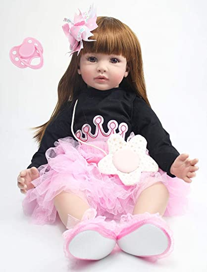 So Truly Real Baby Dolls 24inch Reborn Toddler Girls Dolls with Black Long Hair