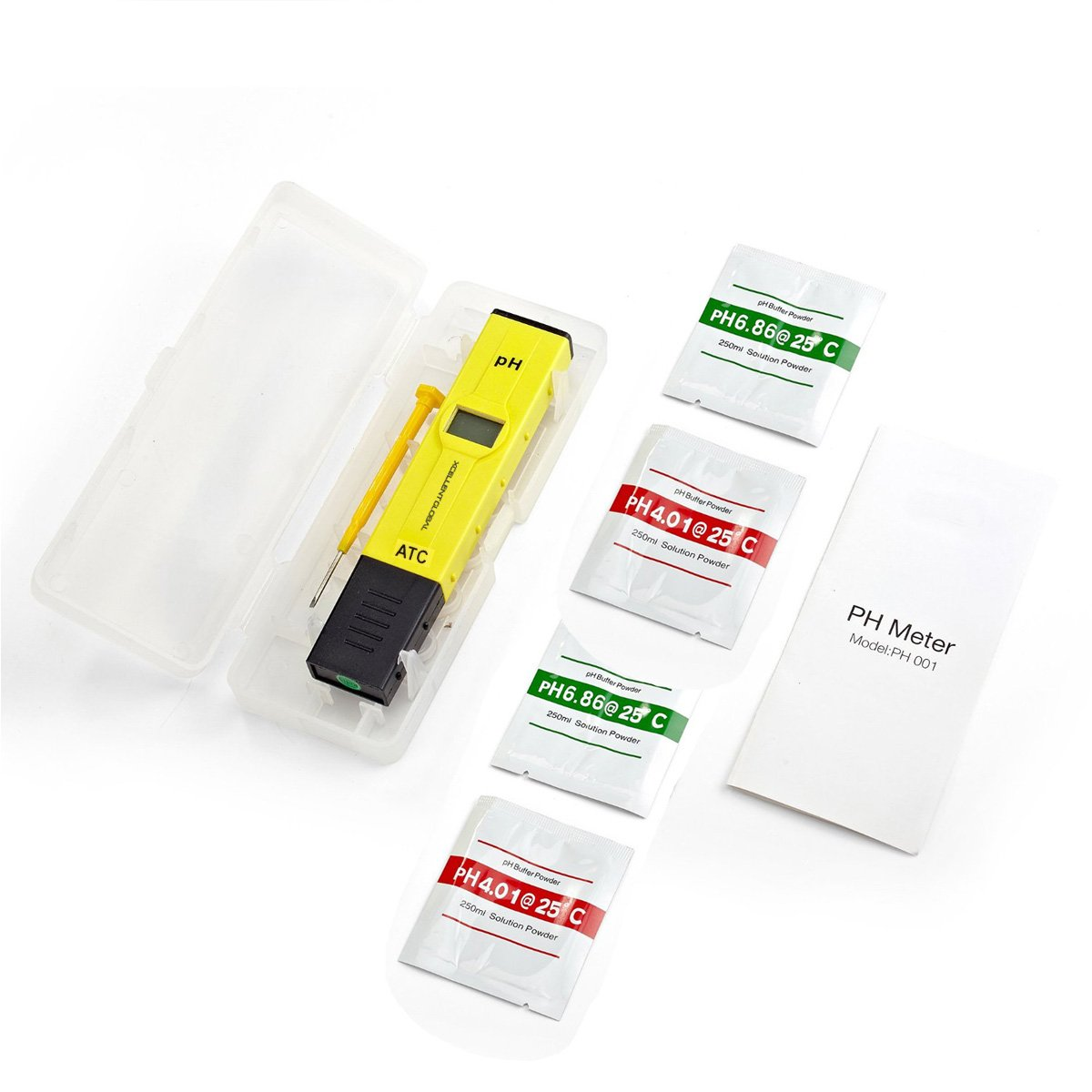 0.01pH Resolution Handheld pH Pen Tester Xcellent Global 0.05 pH High Accuracy Digital Pocket Size pH Meter Tester with ATC 0~50 Degree Handheld 0~14 pH Measurement Range and Backlit LCD Yellow HG076 Portable