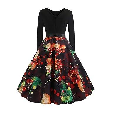 iBasteFR Joyeux noël Femmes Robes Hiver soirée décontractée Fille Habiller  Europe et Amérique Vintage Style Impression c8fe7cce2498