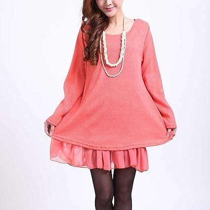 81e9cecce630 Yisaesa Mujer Jersey de Punto suéter Manga Larga Vestido de Cuello ...