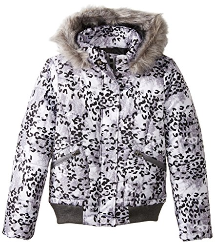 Rothschild Big Girls' Animal Print Puffy Bomber Coat, Grey Lace, - Print Rothschild Coat