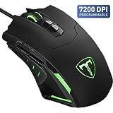 VicTsing Mouse Gaming Mouse da Gioco con Filo Programmabile, 7200DPI, 7 Pulsanti, Illuminazione RGB - Nero