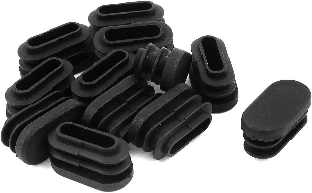 15mm x 30mm Pl/ástico Forma Ovalada Apoya Taza Tubo Inserci/ón Negro 12 Pc