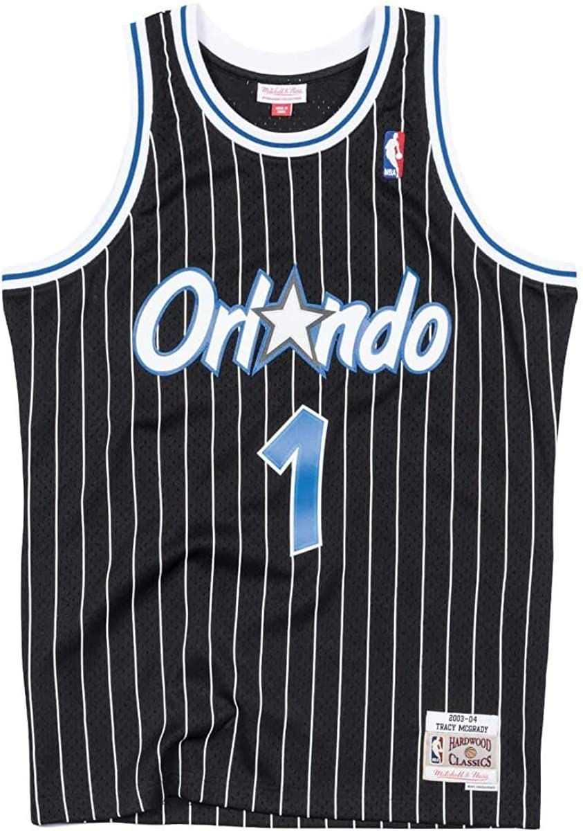 Amazon Com Mitchell Ness Tracy Mcgrady Orlando Magic 2003 04 Men S Black Pinstripe Swingman Jersey Clothing