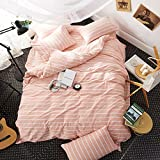EnjoyBridal Striped Duvet Cover Sets Twin Orange Pink,Washed Cotton Bedding Sets Twin for Teens Girls Boys,White Stripes Print Comforter Cover Twin with 4 Corners 3 Pieces (Twin, StripeC)