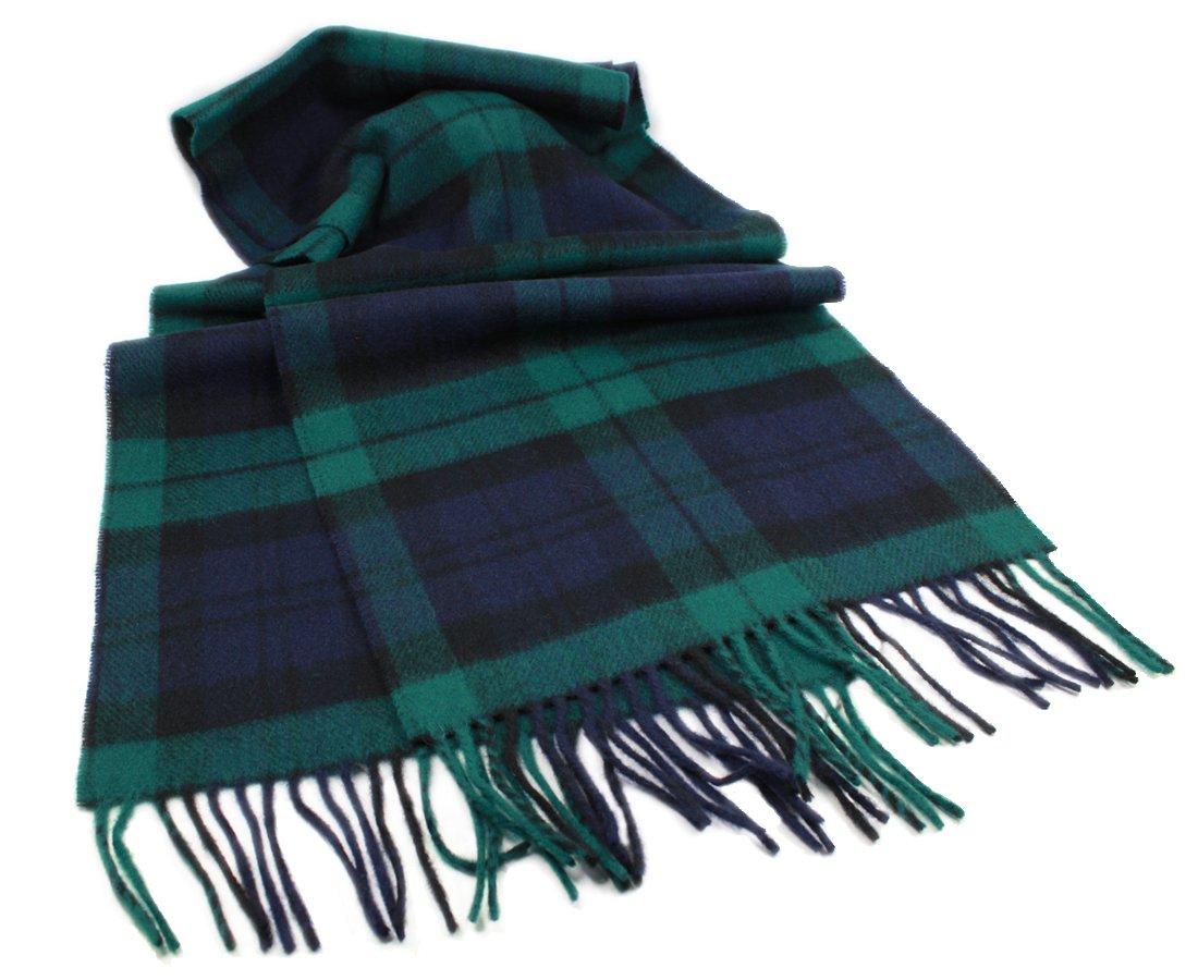 "Irish Wool Scarf Lambswool Blackwatch Plaid 63"" x 12"" Made in Ireland"