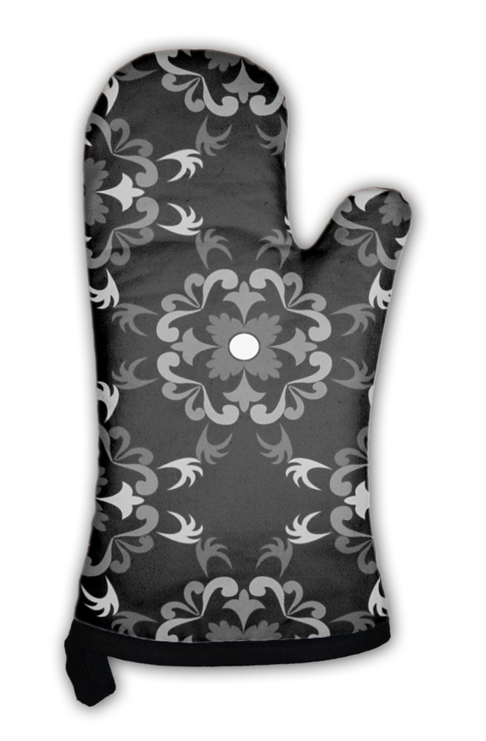 Gear New Oven Mitt, White And Black Floral Pattern, GN3208
