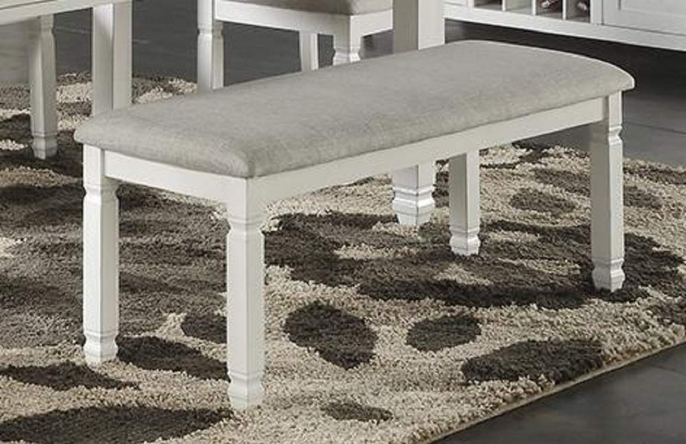 Modern Dining Bench with Upholstered Seat Cushion, White Rubberwood by Advanced Furniture