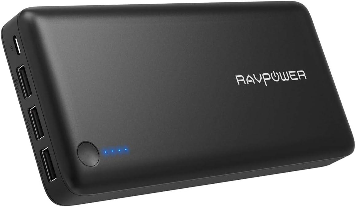 RAVPOWER Batería Externa Portátil 3 Puertos 26800mAh Power Bank, Tecnología iSmart (Salida Total 5,5A, 2 Cables Micro USB) para iPhone Samsung Smartphone Tablet - Negro