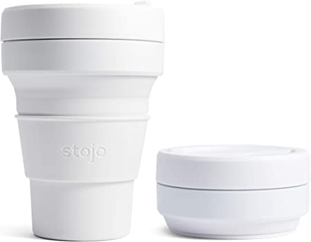 Stojo On The Go Coffee Cup Pocket Sized Collapsible Silicone Travel Mug Blue