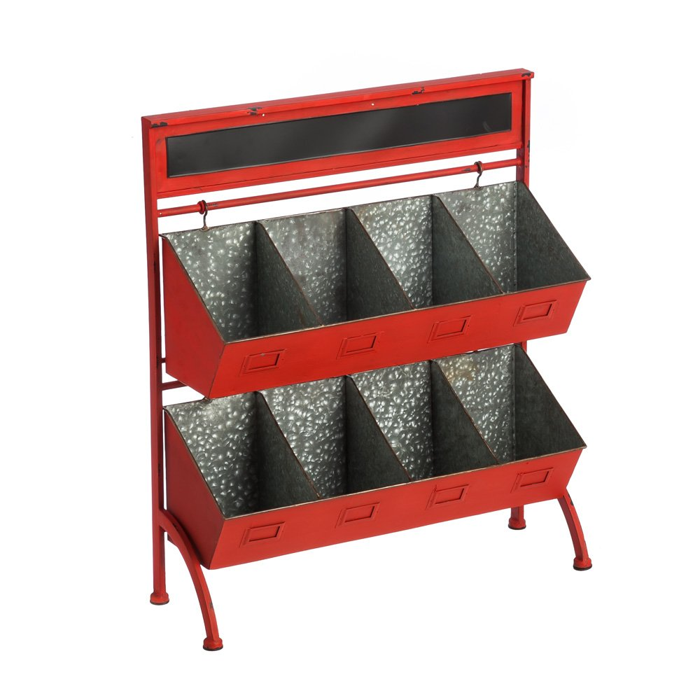 Cape Craftsmen Two-Tiered Farmers Market Storage Cubby with Chalkboard Header, Rustic Red