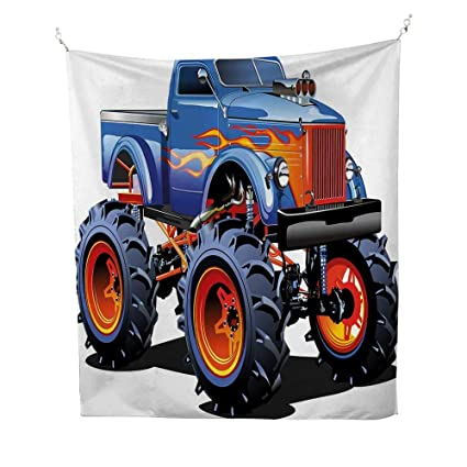Amazon.com: Man Cave Decorsimple tapestryCartoon Monster Truck Huge Tyres Off-Road Heavy Large Tractor Wheels Turbo 60W x 91L inch Art tapestryMulticolor: ...