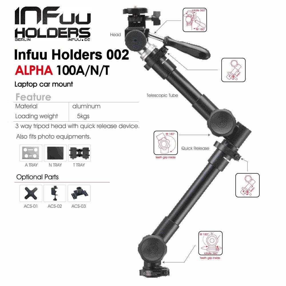 Infuu Holders Coche Universal Soporte para Tablet PC de 10 - 15 Pulgadas iPad Pro 12,9 Galaxy Note Pro XXL Netbook Cámara Auto Camión Estable Metal 002 de ...