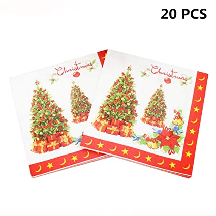 Christmas Napkins.Amazon Com Cha Long 20pcs Pack Christmas Napkins Red Paper