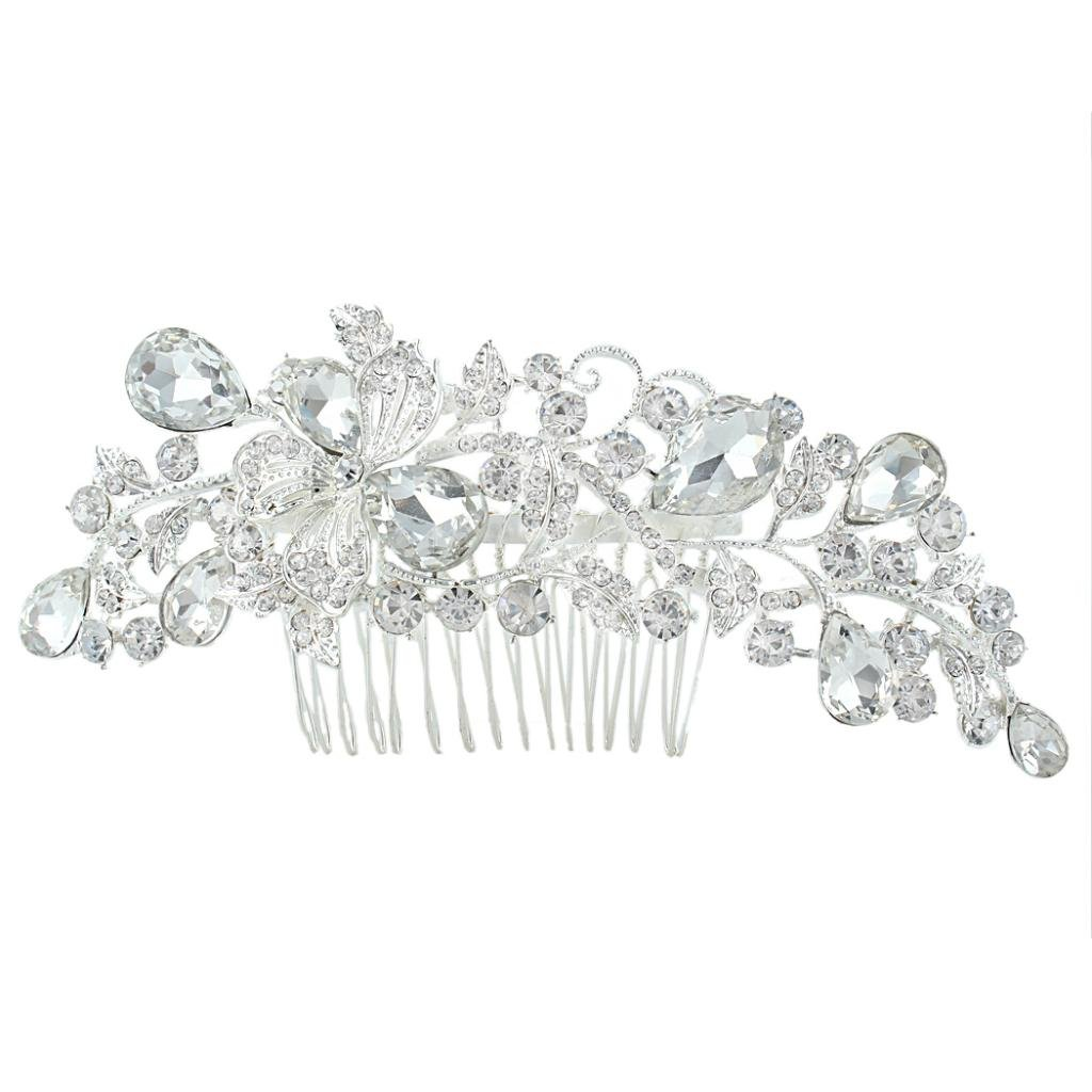 Ever Faith Flower Vine Leaf Hair Comb Bride Clear Austrian Crystal Silver-Tone N04347-1