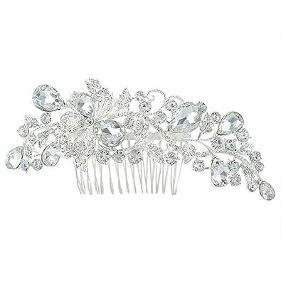 EVER FAITH® Silver-Tone CZ Austrian Crystal Art Deco Bow Bridal Hair Comb Clear N04184-1 YXnE7wo
