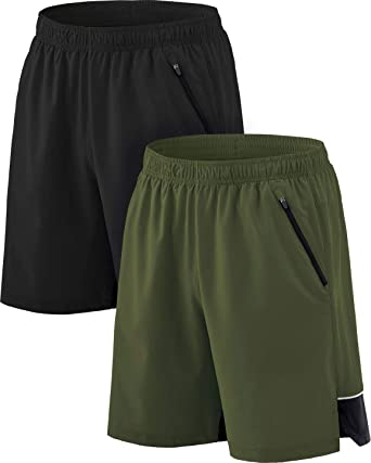 Quick Dry Gym Athletic Shorts with Pockets Training Exercise Workout Shorts TSLA Mens Active Running Shorts