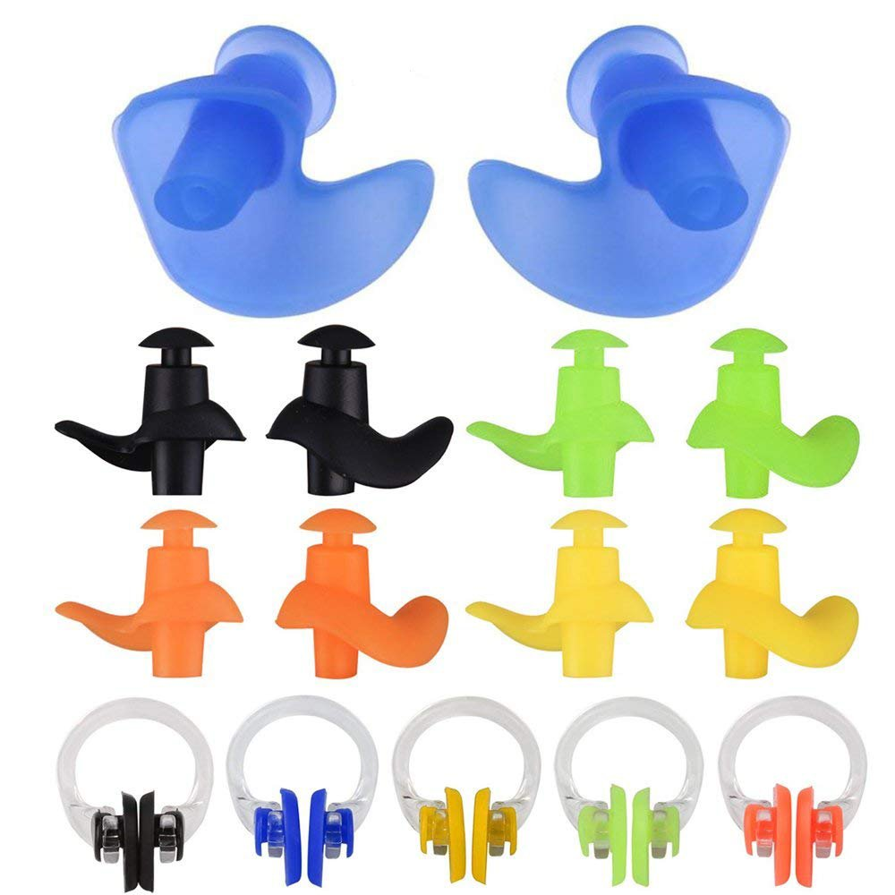 linwnil [5 Set New Spiral Silicone Swimming Earplugs & Nose Clip,Soft Silicone Waterproof Ear Plugs for Swim & Bathing-Keep Water Out Premium Swim Earplugs for Adults & Kids