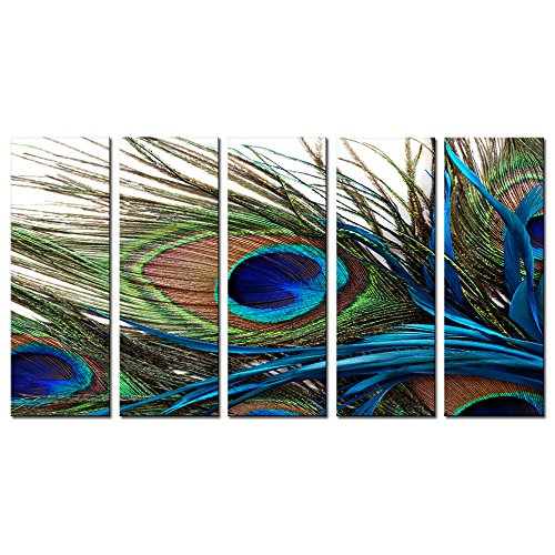 Canvas Prints Wall Art Peacock Feathers Painting Bird Plume Modern Art for Living Room Decoration Ready to Hang set of 5 (10x28inch(25x70cm)x5pcs) (Peacock Painting Wall)