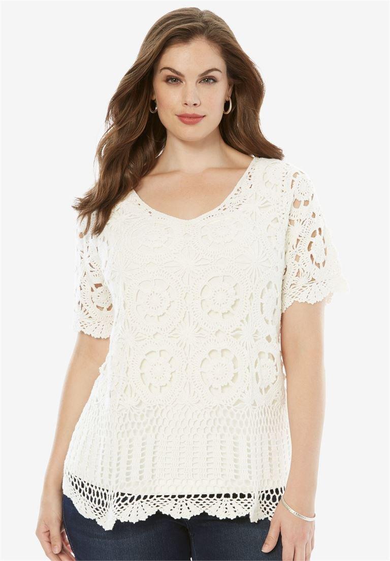 Roamans Women's Plus Size French Crochet Sweater White,2X