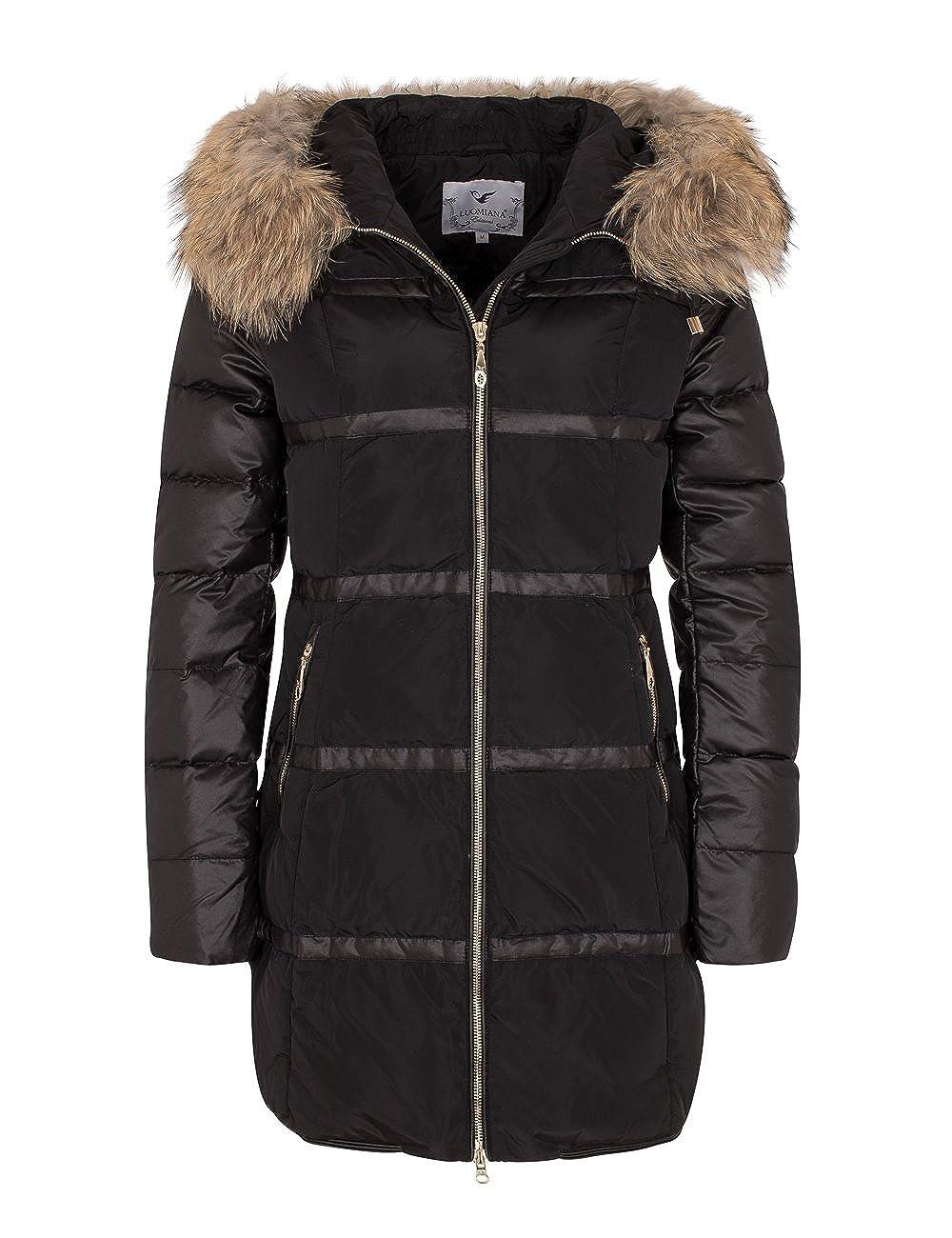 Soventus Fashion Donna Giacca Parka Inverno Con Vera Pelliccia Cappotto Pelliccia