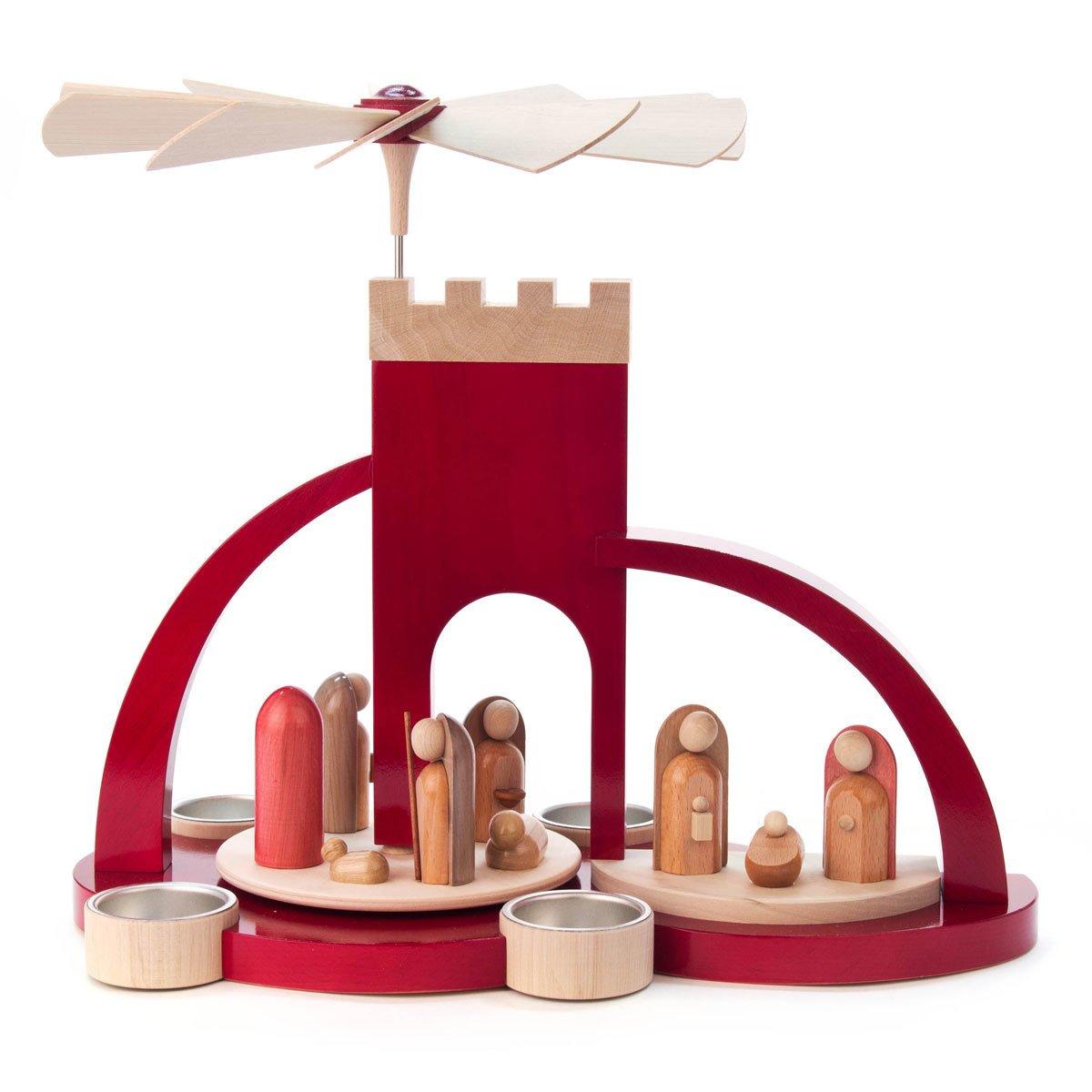 Red Bethlehem Wood Arch Nativity Tea Light German Pyramid - Christmas Carousel
