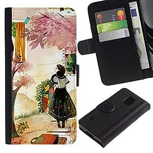 All Phone Most Case / Oferta Especial Cáscara Funda de cuero Monedero Cubierta de proteccion Caso / Wallet Case for Samsung Galaxy S5 V SM-G900 // Woman Fashion Abstract Painting
