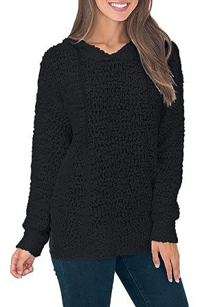d8d2c9eda7f Asvivid Womens Spring Long Sleeve Hooded Knit Sweater Popcorn Oversized  Loose Ladies Pullover Tops Hoodies S