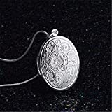 💕💕 Fashion 925 Sterling Silver Rose Round Locket Necklace Box Snake Chain Jewelry