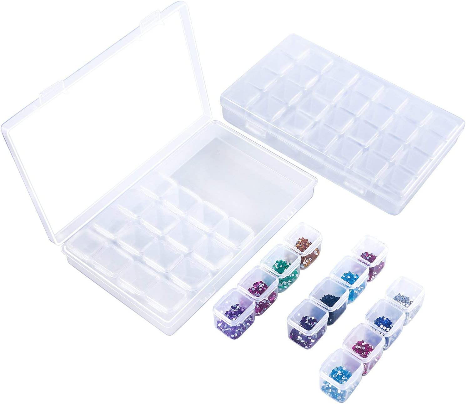 Caja organizadora de 28 rejillas, caja de bordado de diamantes Simuer, caja de almacenamiento para accesorios de pintura, joyería, accesorios de uñas, contenedor, 2 unidades