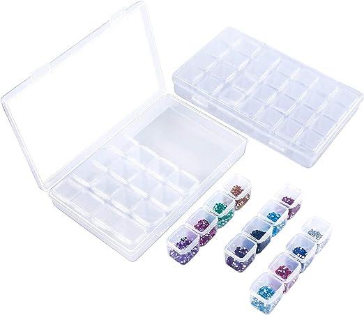 Caja organizadora de almacenamiento de 28 cuadrículas, caja de bordado de diamantes de imitación, contenedor de cuentas transparente para pintura, joyas, accesorios, paquete de 2: Amazon.es: Juguetes y juegos