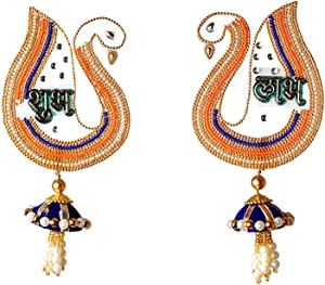 Peacock Shubh labh Hanging Sticker for Door Wall Floor Rangoli Indian Traditional Festival Decoration Pooja Home Decor and Gifting Idea (Size:- 6