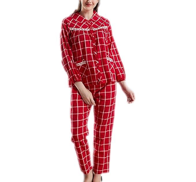 Conjunto De Pijama De Manga Larga Para Mujer PajamaMania,Red-XXL