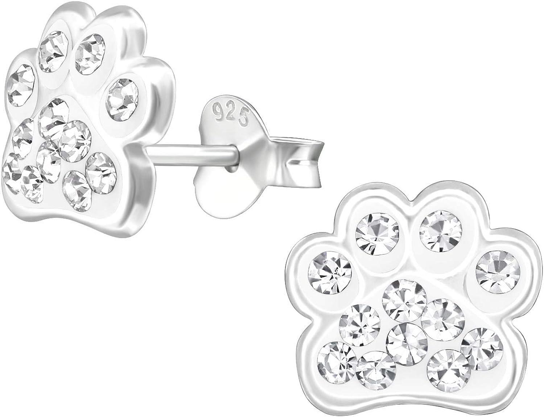 Monkimau M/ädchen Ohrringe Pfote Ohrstecker aus 925 Sterling Silver echt Silber mit 24 Kristallen