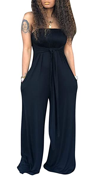 best prices world-wide free shipping sells Women's One-Piece Romper Sexy Bandeau Tube Top Wide Leg Long Pants  Jumpsuits Outfits Plus Size
