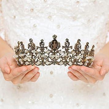 Vintage Baroque Crystal Gold Crown Tiara Bridal Headpiece Pageant Costume