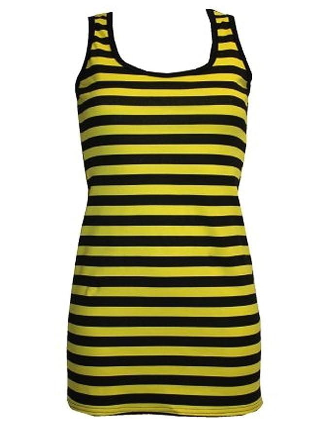Amazon.com: Yellow & Black Stripe Bumble Bee Bug Long Vest Top ...