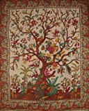 "India Arts Tree of Life Tapestry Cotton Bedspread 108"" x 88"" Full-Queen Beige: more info"