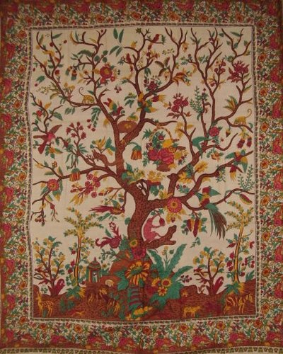 India Arts Tree of Life Tapestry Cotton Bedspread 108