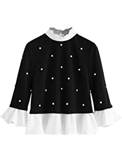 e7535db1ab SheIn Women's Cute Long Sleeve Ruffle Hem Sweatshirt Contrast Collar Top