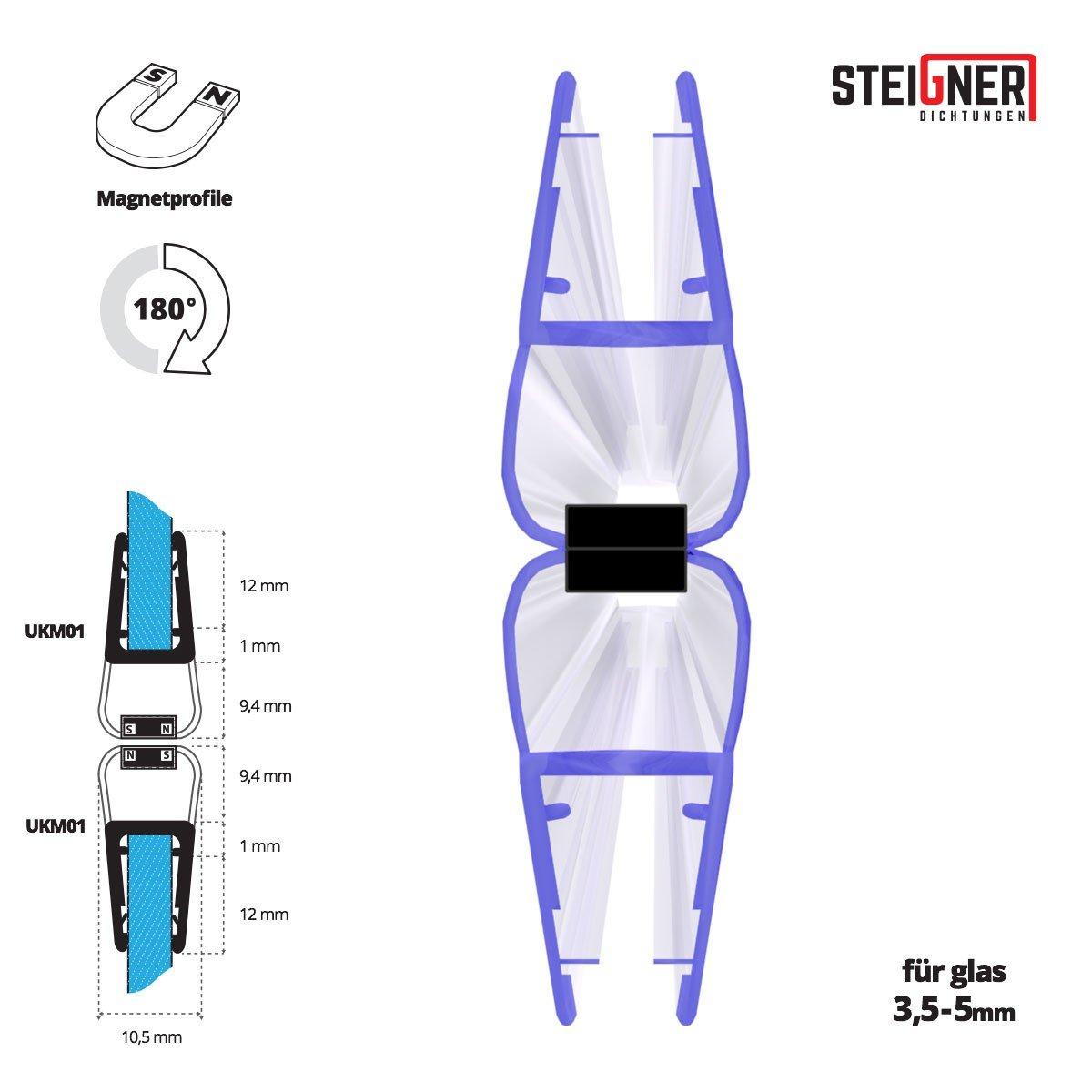 Steigner UKM02 201/cm 2 Pezzi 180 Gradi 6//7//8/mm Set di guarnizioni magnetiche per doccia