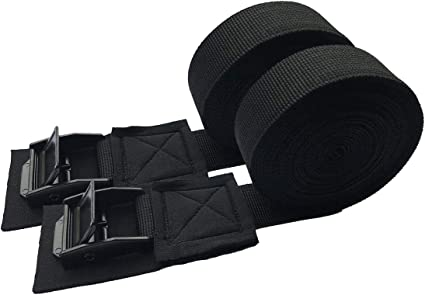 Black Pack 1 Inch 16 Foot Car Heavy Duty Tensioning Binding Belts,Luggage Bag Cargo Lashing Polyester Webbing Straps Ratchet Tie Down Up to 550lbs with Metal Cam Buckle Best-PJD 2Pcs