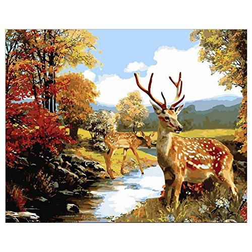 Streamside Kit - SODIAL(R) 16x20 inch ACRYLIC PAINT BY NUMBERS KIT OIL PAINTING ON CANVAS PICTURE Streamside deer